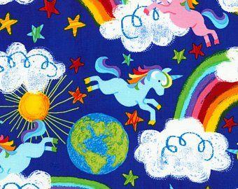 NEW Vintage PolyCotton Fabric Blue Rainbow Unicorn Hearts Children Pony Crafts