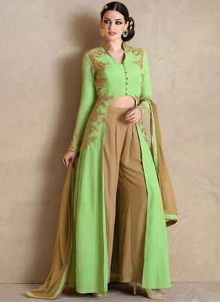 Green Beige Embroidery Work Georgette Chiffon  Designer Fancy Anarkali  Suit  http://www.angelnx.com/Salwar-Kameez