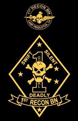 USMC UNITED STATES MARINE CORPS 1st RECON BATTALION T-SHIRT