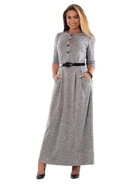 22f803ee73ab31a Elegant Long Sleeve Polycotton Maxi Plus Size Dress For Office L-6XL ...