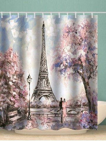 Eiffel Tower Lover Waterproof Shower Curtain Colorful Curtains Curtains Eiffel Tower
