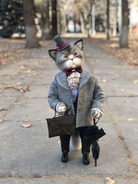 Купить Феликс - котик, подарок на новый год, кот из шерсти, что подарить шефу, важный кот