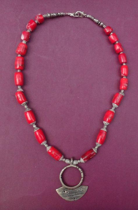 d128d77b8b01 Collar Bereber (africano) De Coral Rojo Y Plata -   3.240