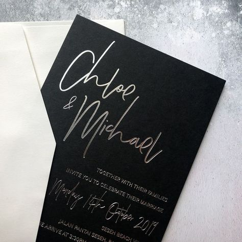 Black With Gold Foil Minimal Luxe Wedding Invitations
