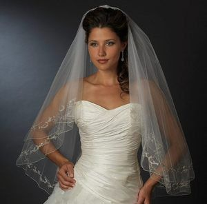 Regal Two Layer White Fingertip Wedding Veil with Silver Embroidery