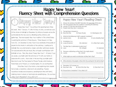 Happy New Year! Fluency Sheet with Comprehension Questions | SCHOOL ...