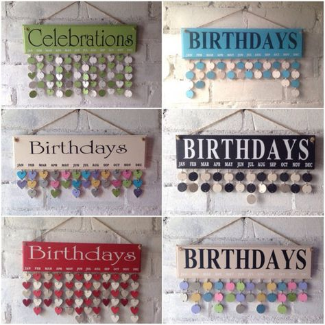 Family birthday board, Birthday organiser, wooden calendar,complete with 30 multicoloured circles.