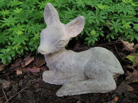 Vintage Cement 9 5 Long Baby Deer Fawn Garden Art Statue Weathered Concrete Garden Art Statues Garden Art Cement Statues