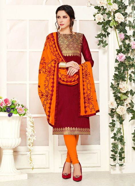 Women elegance is magnified tenfold in this style of a maroon banarasi silk salwar kameez. The pretty embroidered work a intensive characteristic of this attire. Comes with matching bottom and dupatta. (Slight variation in color, fabric & work is possible. Model images are only representative.)