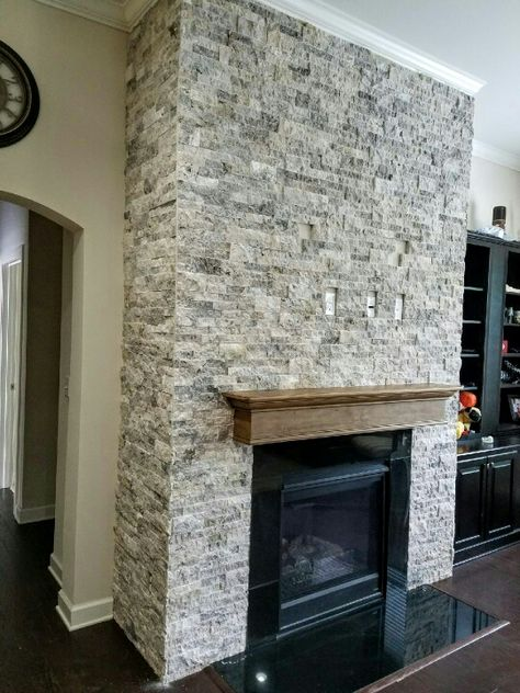 Silver Travertine Stacked Stone Fireplace Stone Stacked Stone