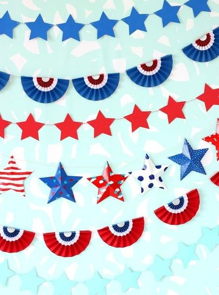 DIY Patriotic Paper Bunting Banners  - DIY Decor For Your Fourth Of July Party - Photos