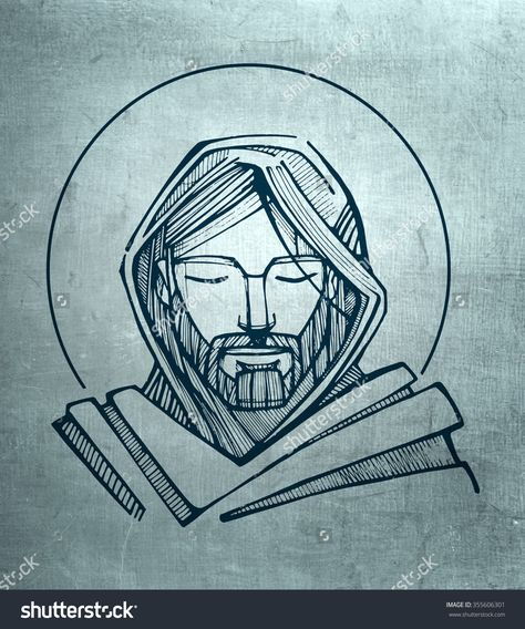 hand drawn vector ink illustration or drawing of jesus christ face punti pinterest ink illustrations catholic art and dios