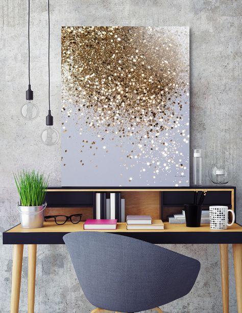 Sparkle Paint, Glitter Paint For Walls, Glitter Wall Art, Glitter Room, Gold Glitter, Glitter Accent Wall, Wall Art Crafts, Diy Art, Glitter Canvas