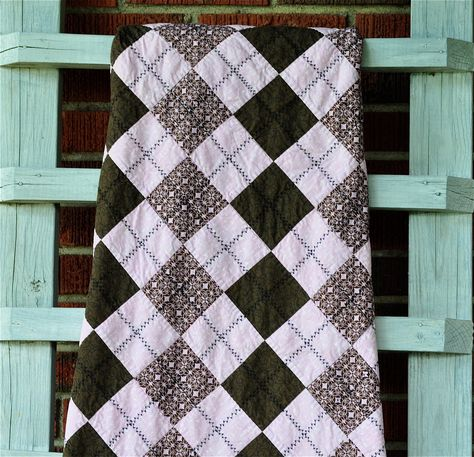 Modern Girls Quilt in Argyle Pattern in Soft by ModernMeetsClassic, $155.00