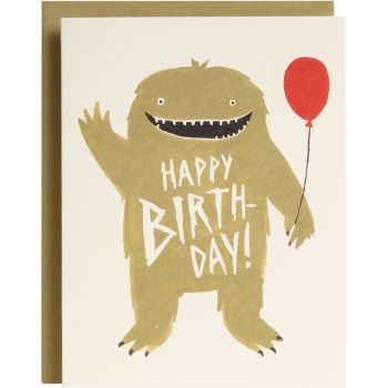 Monster With Balloons Birthday Card