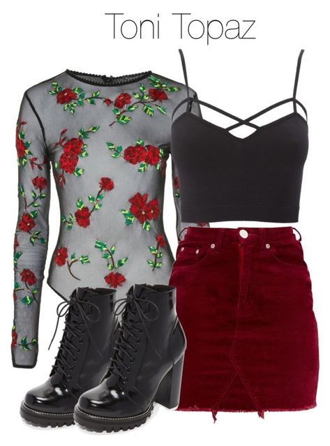 A fashion look from March 2018 featuring Charlotte Russe tops and Jeffrey Campbell ankle booties. Browse and shop related looks. Cute Emo Outfits, Bad Girl Outfits, Punk Outfits, Teen Fashion Outfits, Teenage Outfits, Swag Outfits, Grunge Outfits, Outfits For Teens, Edgy Teen Fashion