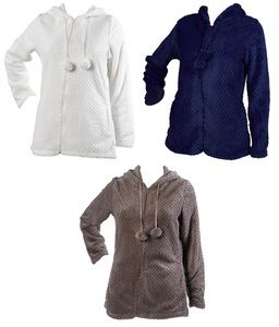 These Luxurious Ladies Bed Jackets Are A Zip Up Style With Pom Pom