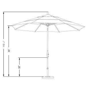 11 Ft Aluminum Collar Tilt Double Vented Patio Umbrella In Granite Olefin In 2020 Patio Umbrella Patio Patio Umbrellas
