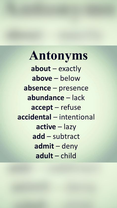 Antonym Words List