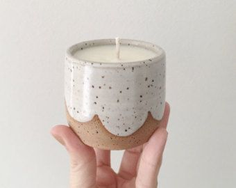 Hand poured lavender scented candle in hand thrown white ceramic container Candle holder Handmade soy wax candle ceramic candle - Gifts