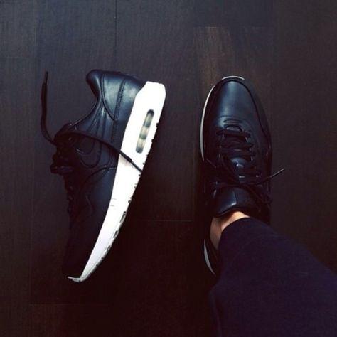 leather matte black shiny nike air max