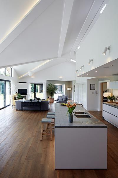 Open plan kitchen interior photography by Paul Leach award winning architectural photographer North Yorkshire