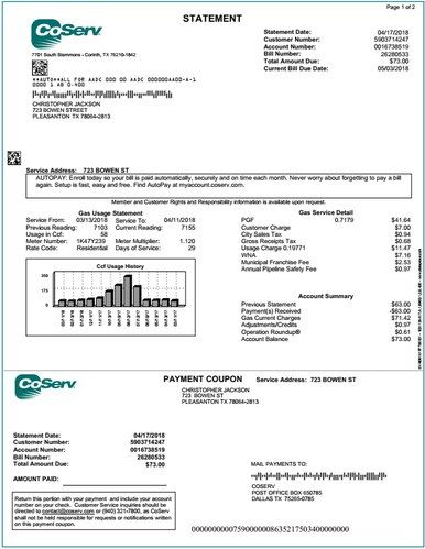 Coserv Electric Provider Gas Bill Statement Utility Carrier