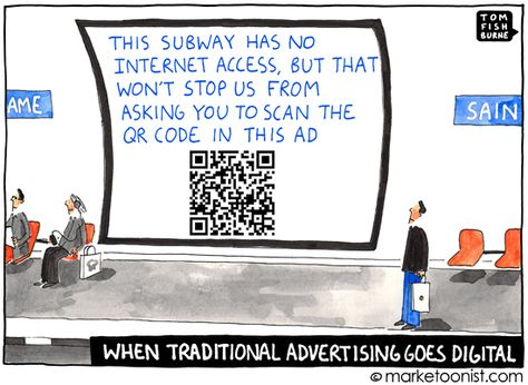 """""""when traditional advertising goes digital"""" cartoon"""