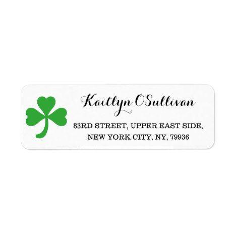 30 Custom Happy Irish Shamrock Personalized Address Labels