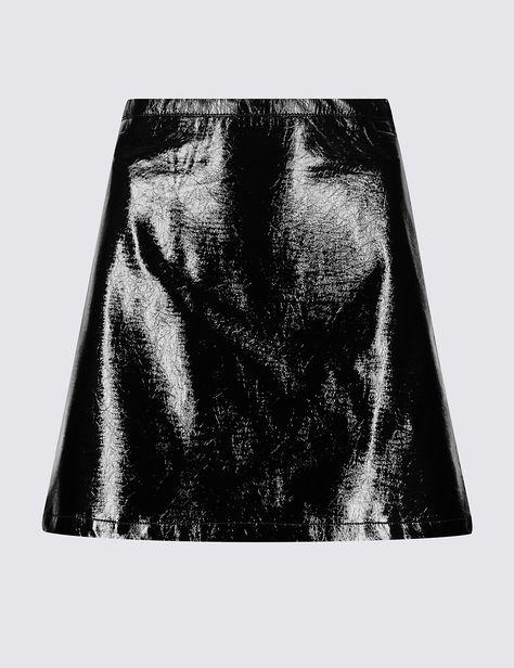 Ladies Mini Skirt M/&S Black Alexa Archive 14 Kirkgate Faux Leather Aline Marks