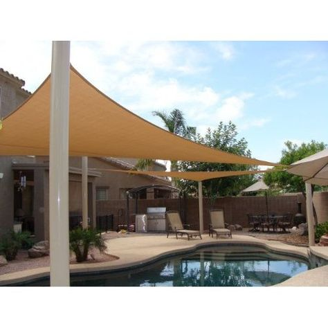 ALEKO Waterproof Sun Shade Sail Square 18x18 Ft Canopy Tent Replacement Sand