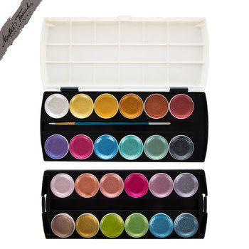 Metallic Semi Moist Watercolor Paints 24 Piece Set Paint Set
