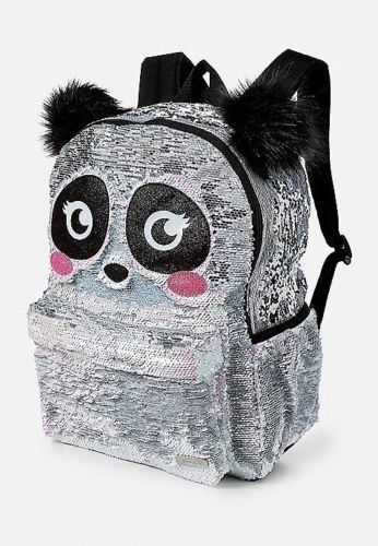 Justice Girls Backpack Bookbag Panda Reversible Flip Sequins Silver School New Justice Backpack Sequin Backpack Cute Mini Backpacks Backpacks