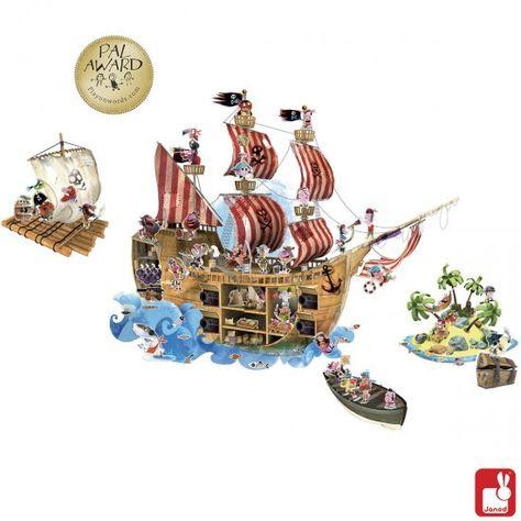 Janod - Muurstickers magnetisch piraat  Een geweldige magnetische muursticker met als thema 'piraten' van het merk Janod. Het bijzondere aan deze muurstickers zijn de 70 bijgeleverde magneten van onder andere piraten, zeemeerminnen en vissen