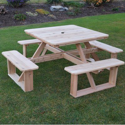 August Grove Law Simmonds Wooden Picnic Table In 2019 Products Picnic Table Wooden Picnic Tables Furniture