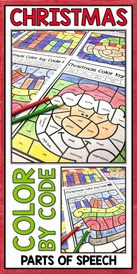 Christmas Coloring Pages Parts Of Speech Color By Number Parts