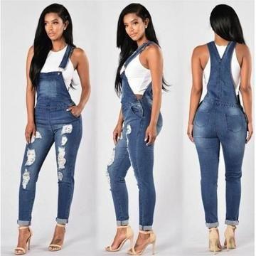 Womens Denim Elegant Summer Full Length Dress Zip Sleeveless Jeans Slim 2019