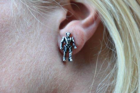 Doctor Who pewter Cyberman earrings.
