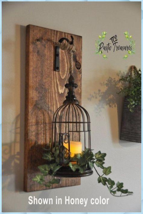 Rustic home decor... Ird, Käfig, Laterne... R   Tolle Garten Ideen #wanddekoration-holz