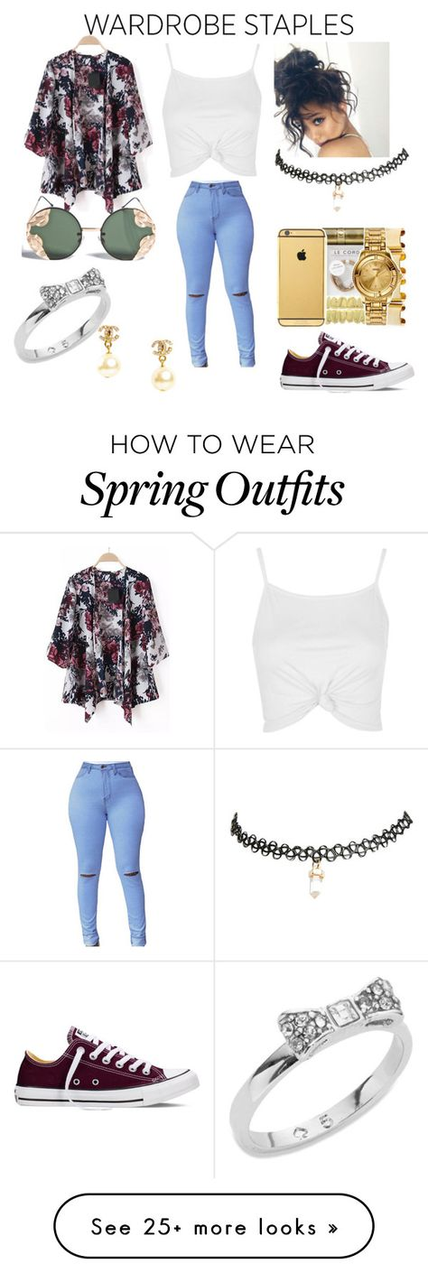 """""""Spring Outfit"""" by lillianag99 on Polyvore featuring Topshop, Converse, Wet Seal, Spitfire, Kate Spade and Chanel"""