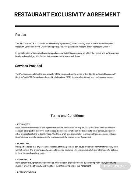Restaurant Exclusivity Agreement Template Word Doc Agreement Templates