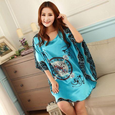 56369c29ee Nightgowns Sleepshirts Women Night Dress Plus Size Sleepwear Faux Silk  Ladies Big Size Bat Sleepshirts Summer Nightgowns Female