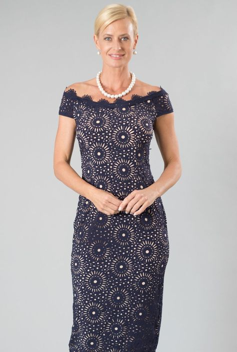 56d104e0a42 Living Silk - specialising in navy dresses and two piece outfits with  sleeves for the modern
