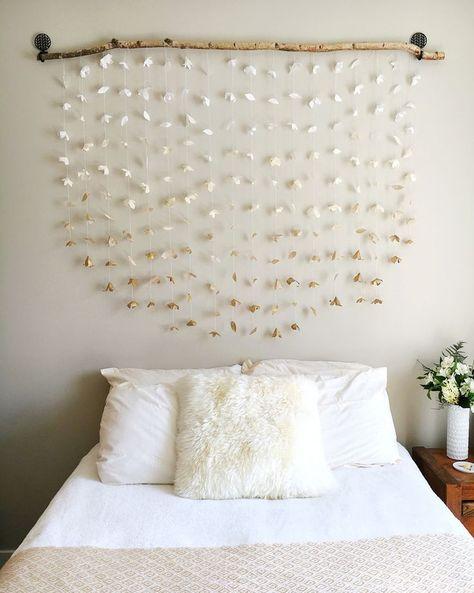 room decor, DIY headboard, wall hangings, tapestries, paper flowers, DIY home decor, apartment decor, apartment decor, affordable home decor.