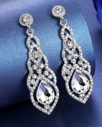 Water Drop Crystal Drop Long Earrings Silver Elegant Bridal Etsy Unique Dangle Earrings Wedding Earrings Drop Long Silver Earrings