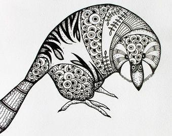 Photo of Blaumeise, Drucke und Original-Illustrationen, Balck und weiße Tinte Kunst Tier Vogel Zeichnung, Dot
