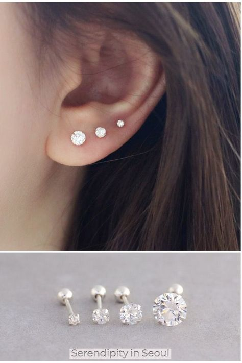 925 sterling silver CZ barbell ear piercings! #earpiercing #sterlingsilverearrings #earcandy #earpiercings