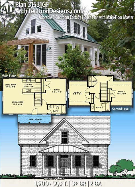 Architectural Designs Home Plan 31531gf Gives You 3 Bedrooms 2 Baths And 1 900 Sq Ft Read Small Cottage House Plans Cottage House Plans Small Cottage Plans
