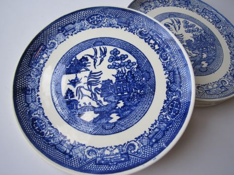 Vintage Blue and White Blue Willow Style Luncheon by thechinagirl
