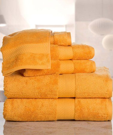 This Gold Aerosoft Zero Twist Combed Cotton Six Piece Towel Set Is